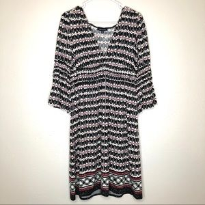 Max Edition Bell Sleeve dress, red/black/white